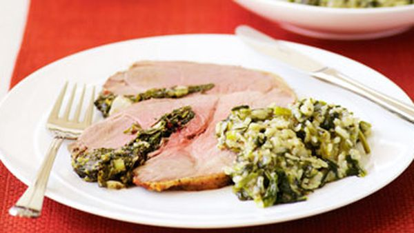 Stuffed lamb with spinach rice