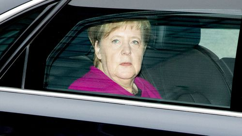 German Chancellor Angela Merkel arrives for a meeting of the Christian Democratic Union party's presidium at the CDU headquarters in Berlin.