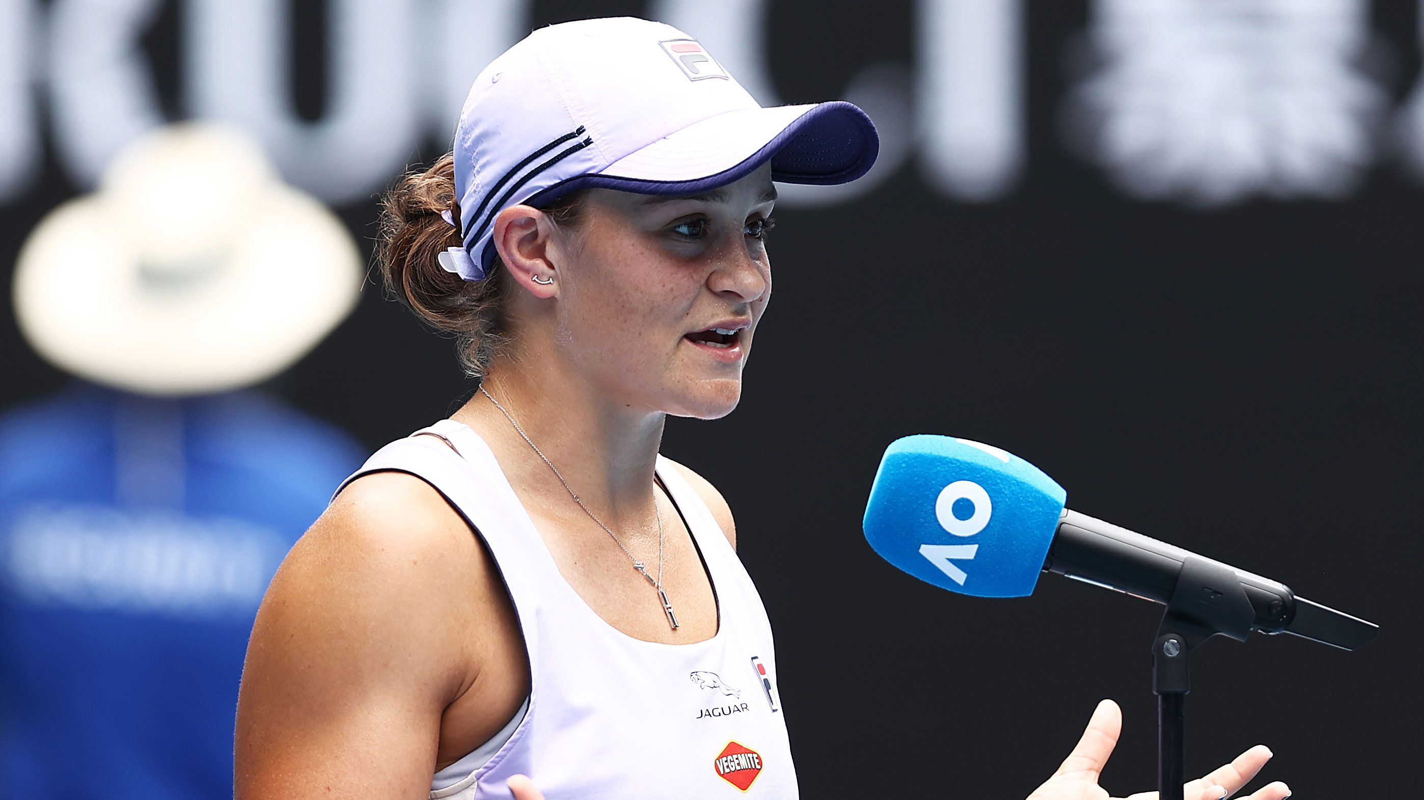 Ash Barty makes a joke with the crowd after her second round win over Daria Gavrilova.