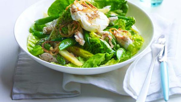Chicken, cos and soft egg salad with anchovy and crisp onion