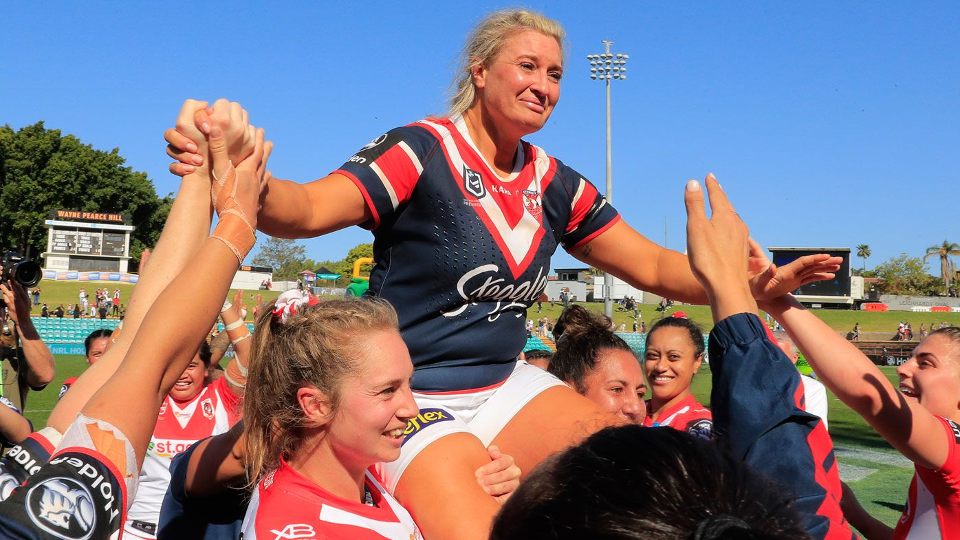 Retiring Roosters player Ruan Sims is chaired off after her final NRLW game