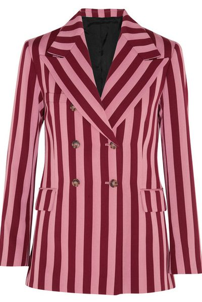 "Alexa Chung striped blazer, approx. $982 at <a href=""https://www.net-a-porter.com/au/en/product/898217/ALEXACHUNG/striped-crepe-blazer"" target=""_blank"">Net-a-porter<br /> </a>"