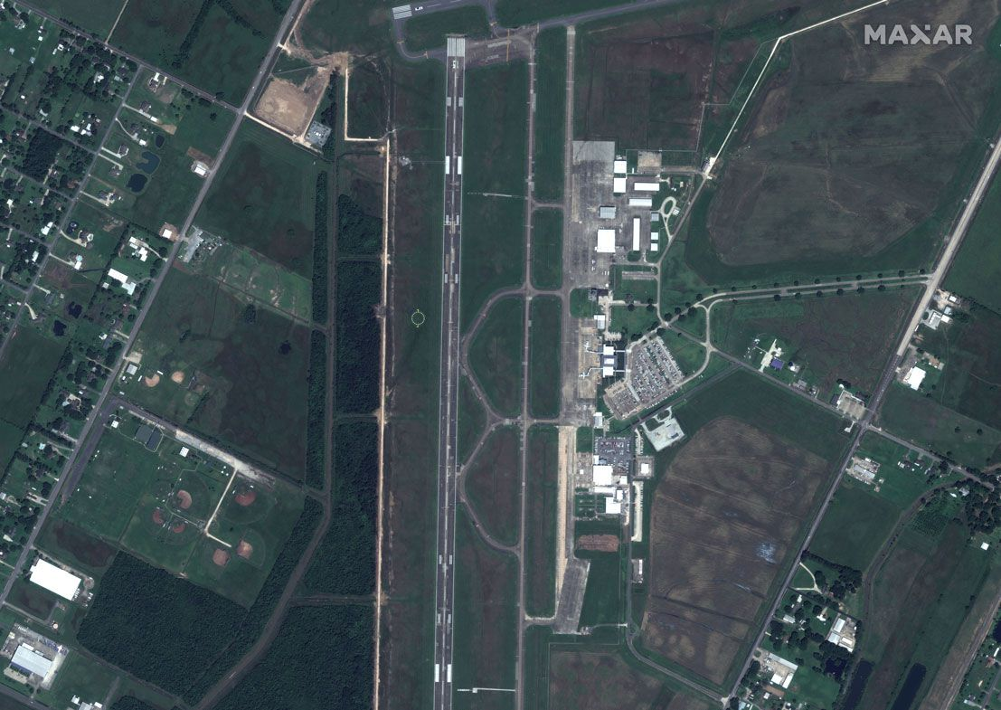 This June 3, 2019, satellite photo provided by Maxar Technologies shows an overview of Lake Charles Regional Airport, in Lake Charles, La., before Hurricane Laura
