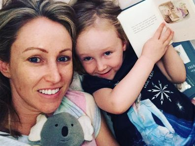 Nine newsreader Davina Smith and her daughter
