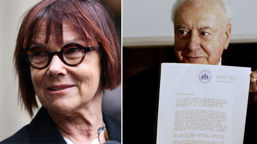 Jenny Hocking with a photo of Gough Whitlam and the Dismissal letter.