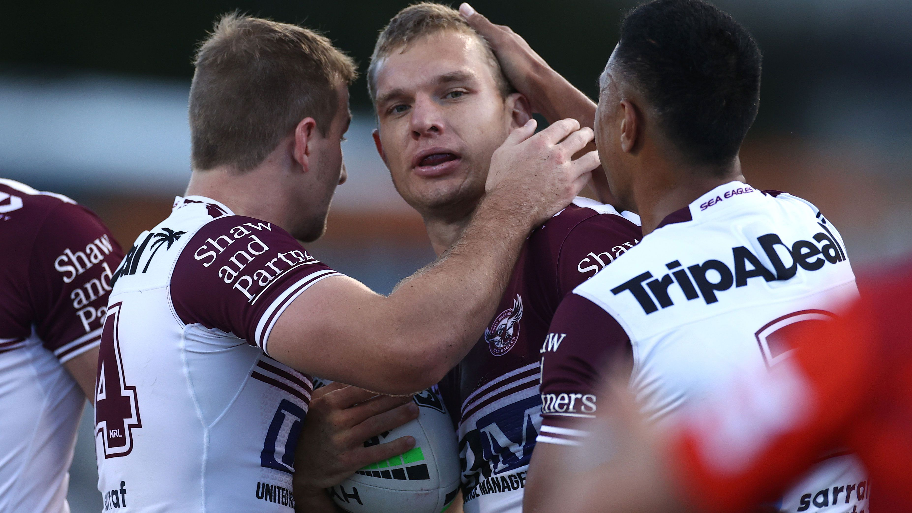 Tom Trbojevic celebrates a try for Manly before he was injured last season.