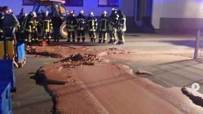 Chocolate leaked from a factory and flooded a street