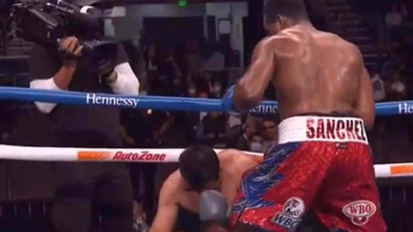 Heavyweight Frank Sanchez puts opponent through ropes in KO on Canelo-Smith undercard