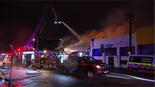 Firefighters worked for more than two hours to put the fire out. Picture: 9NEWS.
