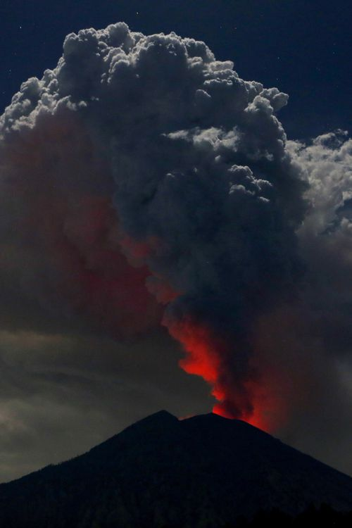 Bali's airports were closed for 12 hours after the eruption, with many travellers left stranded. Picture: AAP.
