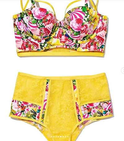 Included in the&nbsp;<em>Victoria's Secret x Mary Katrantzou</em>&nbsp;range is a tropical-print, canary yellow high-waist underwear set.