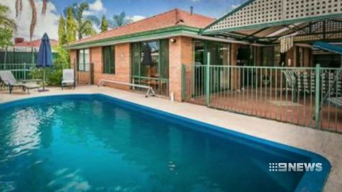 A photo of the backyard swimming pool where Lachlan was found floating face-down. (9NEWS)
