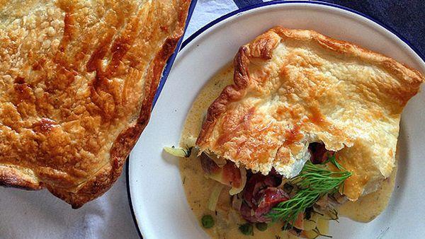 Renate's chorizo and herring pie