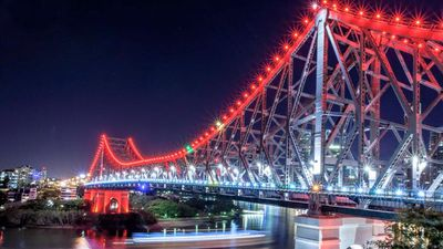Brisbane's Story Bridge bathed in coloured lights. (@iMARKSIMPSON, Twitter)