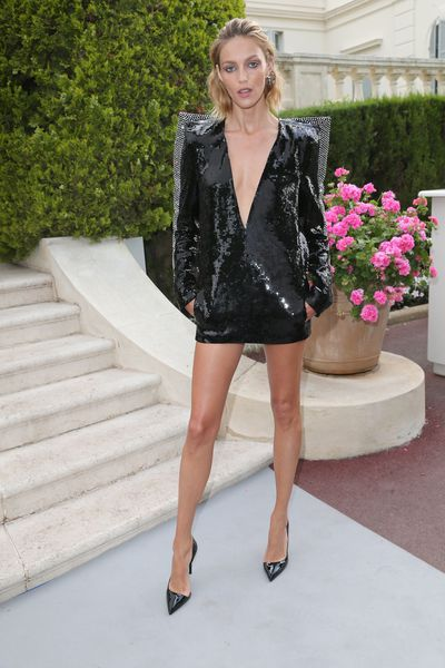 Anja Rubik in Yves Saint Laurent at the amfAR Gala, Cannes 2017