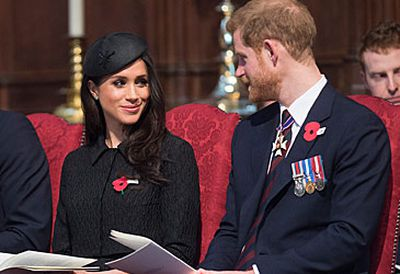 Meghan Markle and Prince Harry attend a Service of Commemoration for ANZAC Day