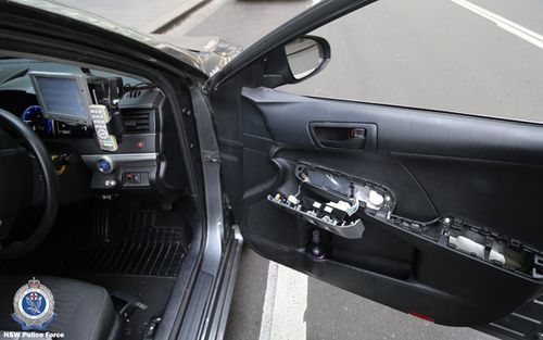 The secret compartment found by NSW Police after they stopped a taxi in Barangaroo.