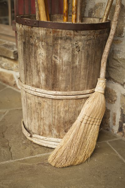 <strong>Using an old broom</strong>