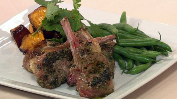 Garlic and ginger lamb cutlets with soy roasted pumpkin