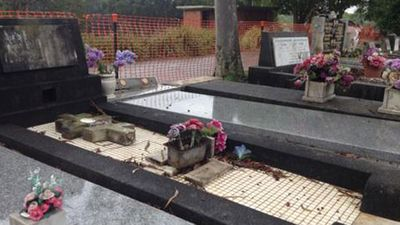 NSW Police have condemned the vandalism at the cemetery as investigations continue into how the offenders were able to access the Hawthorne Avenue cemetery. (Picture: Mimi Becker, 9NEWS)