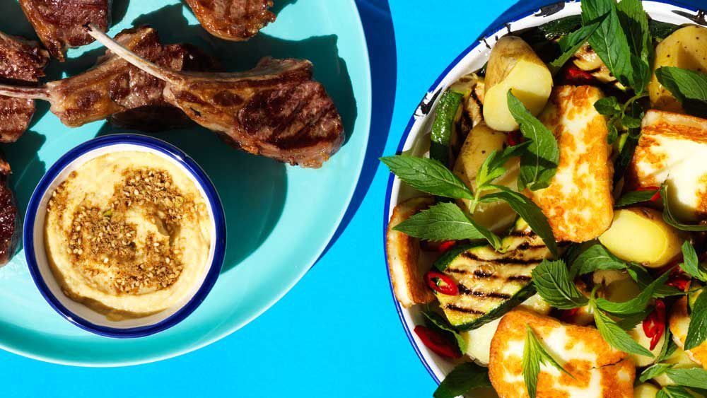 Lamb cutlets with haloumi salad