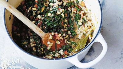 "Recipe: <a href=""http://kitchen.nine.com.au/2017/05/22/14/20/barley-rainbow-chard-and-lemon-risotto"" target=""_top"">Barley, rainbow chard and lemon risott</a>o"