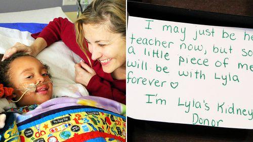 Dena Carreyn and daughter Lyla; the note from teacher Beth Battista. (Facebook/Dena Carreyn)