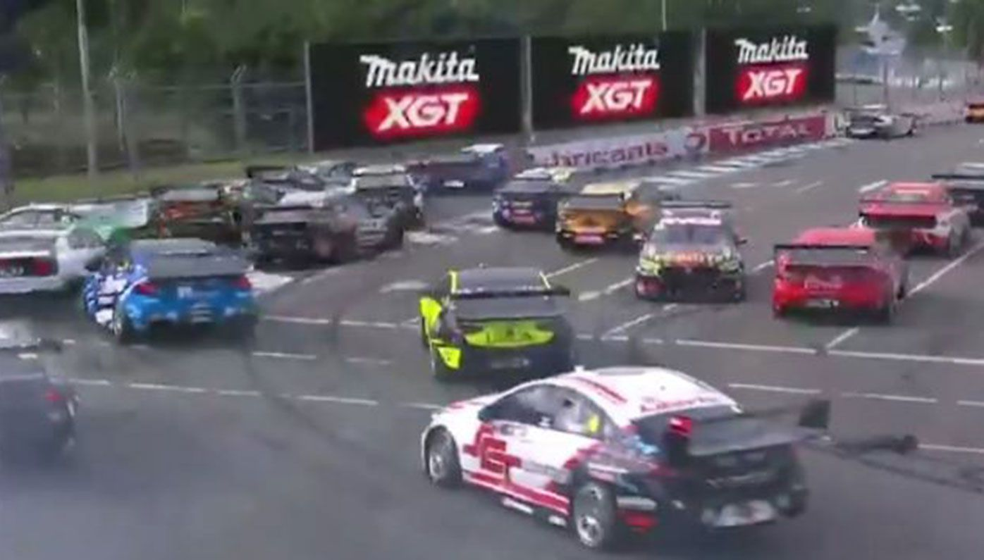A mass pile-up marred the opening lap of the Supercars race in Townsville.