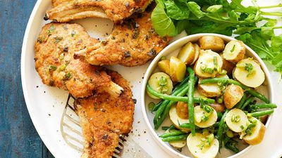 "<a href=""http://kitchen.nine.com.au/2016/05/16/17/29/crumbed-pork-cutlets-with-warm-potato-salad"" target=""_top"">Crumbed pork cutlets with warm potato salad<br> </a>"