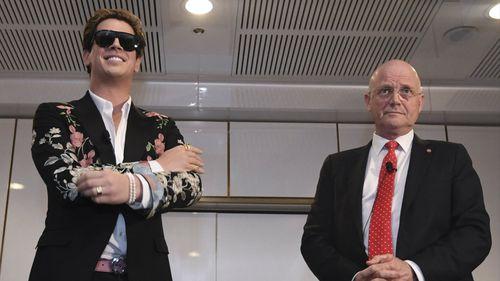 Alt-right commentator Milo Yiannopoulos with Liberal Democrat Senator David Leyonhjelm. (Image: AAP)