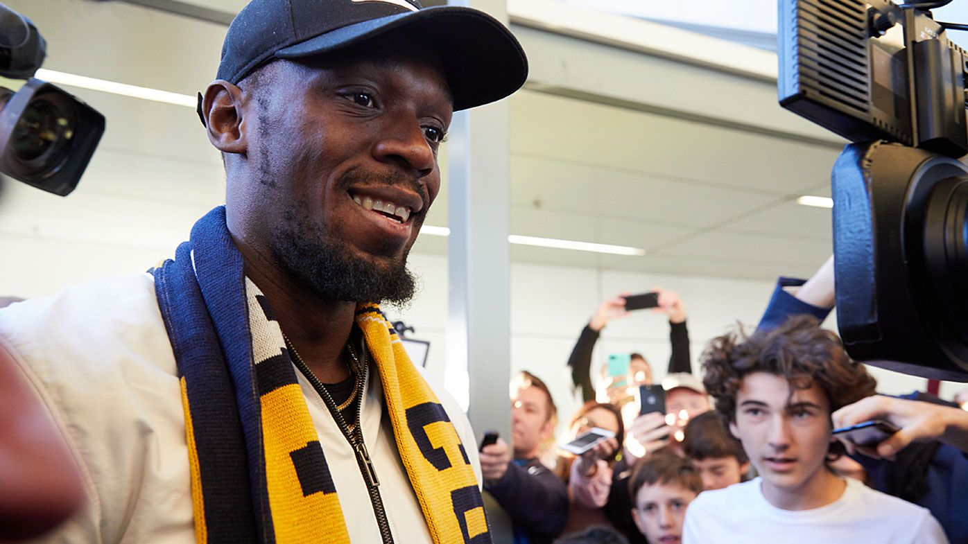 Usain Bolt arrives for Mariners A-League trial