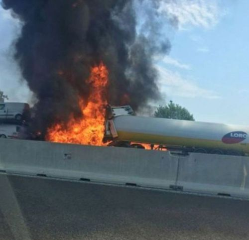 The explosion was caused by an accident involving a truck that was transporting flammable substances, which exploded upon impact. Picture: Twitter