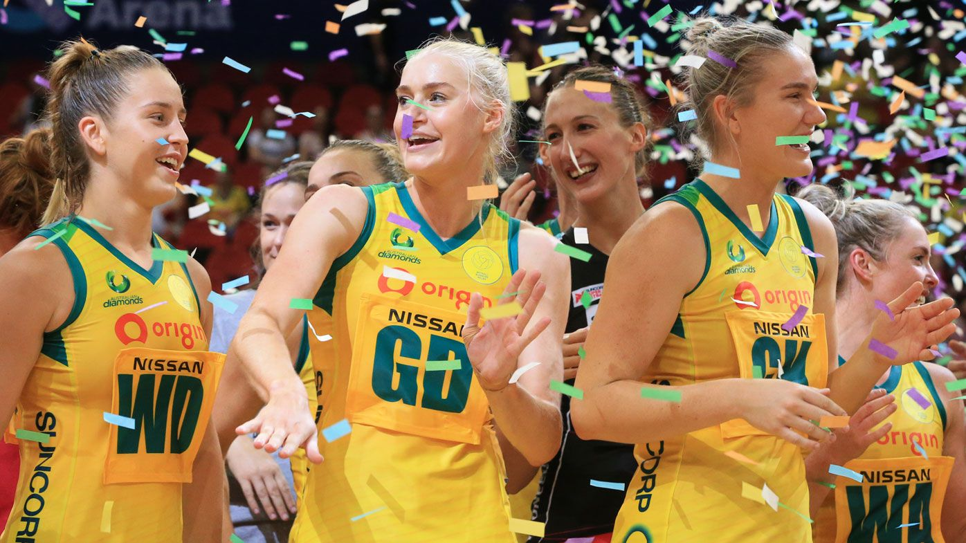 Diamonds players celebrate after the Bushfire Relief Charity netball match between the Australian Diamonds and the Super Netball All-Stars (AAP)
