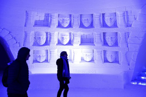 """The famous """"faces on the wall"""" have been recreated in the hotel. (AAP)"""