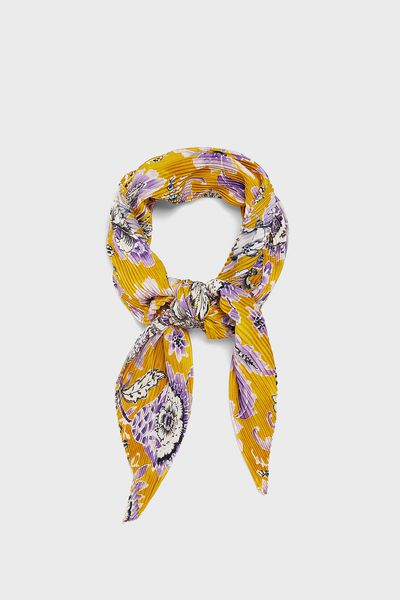 Zara pleated neckerchief with print, $19.95