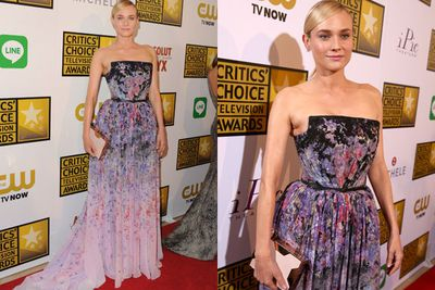 Diane Kruger looks every bit the Hollywood sweetheart, in this floral frock on the red carpet... but where's boyfriend Joshua Jackson?