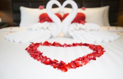 Hotel honeymoon rose petal display on bed