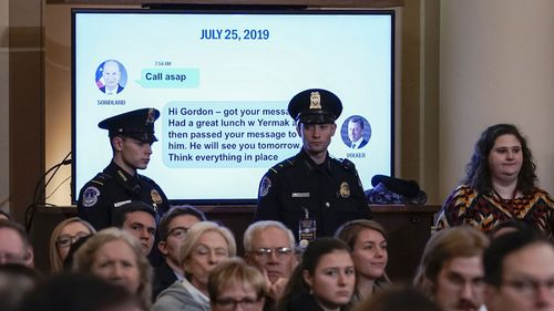 Text messages between Gordon Sondland and Kurt Volker are shown in the impeachment inquiry.