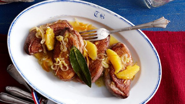 Duck breasts in sticky orange sauce
