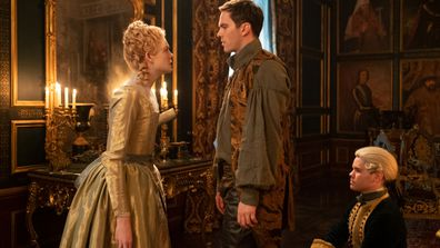 Elle Fanning and Nicholas Hoult in The Great