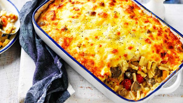 Cheesy mushroom, bacon and vegetable pasta bake recipe for Australian Mushrooms