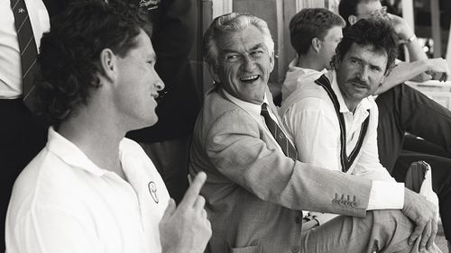 Bob Hawke, then Prime Minister of Australia, laughing with Dean Jones (left) and captain Allan Border (right) during play at the 2nd Ashes test match against England at Lord's in 1989. (Philip Brown, Popperfoto, Getty Images)