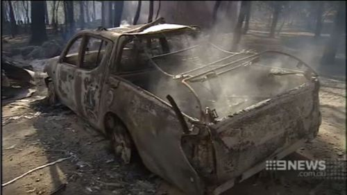 A car burnt out at the fire near Waroona. (9NEWS)