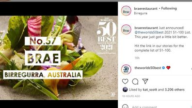 Brae announced as 57 on World's Best Restaurants list 2021