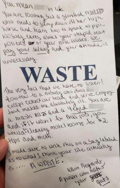 Passenger writes abusive note to flight attendant amid coronavirus
