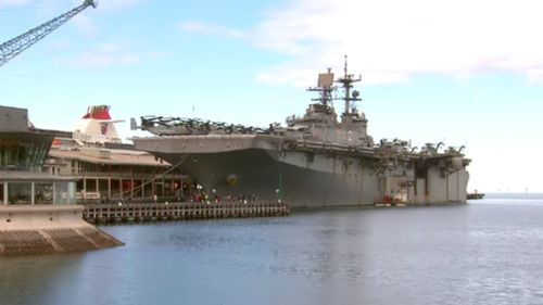 The USS Bonhomme Richard will remain docked at Station Pier for the next few days. (9NEWS)