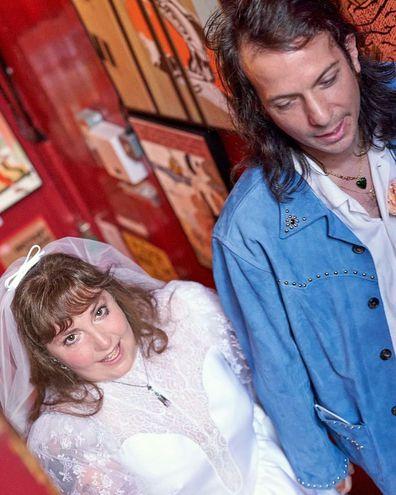 Lena Dunham and Luis Felber on their wedding day in London