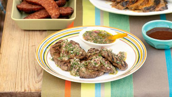 Steak with parsley sauce