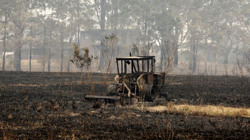 Burnt out tractor