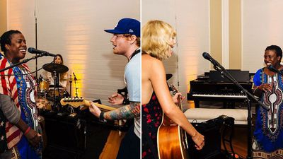 Orange Is the New Black star Uzo Abuda posted these pictures of herself rocking out with Ed Sheeran and Swift to Instagram. (Instagram: @uzoabuda)